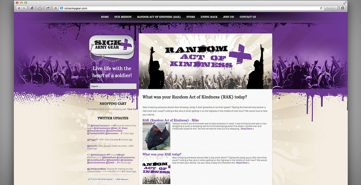 Sick Army Gear Website: Random Act of Kindness (RAK) page