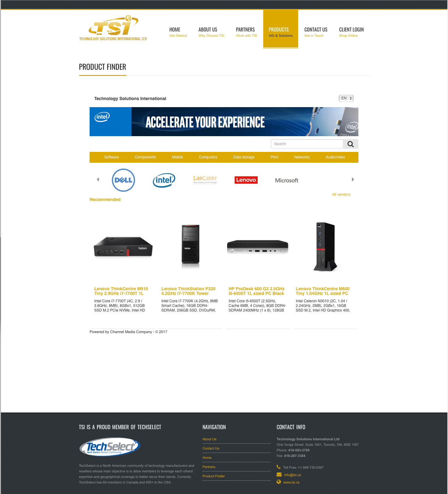 TSI.ca Responsive Website Design: Product Finder
