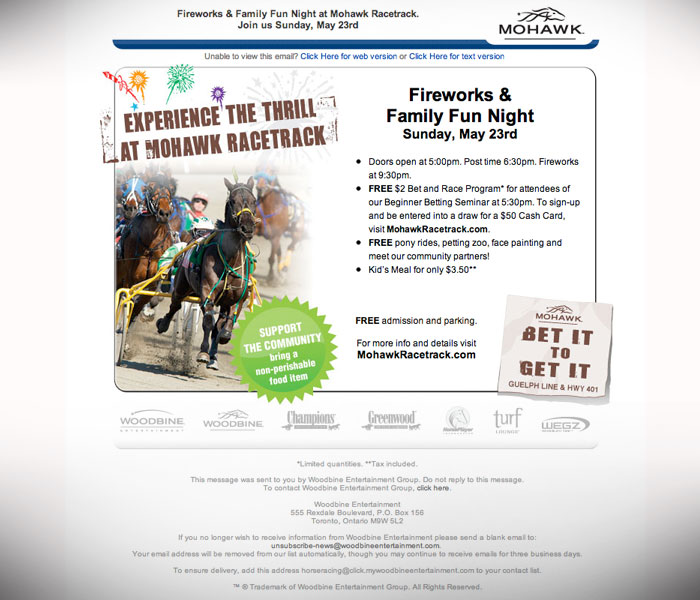 Bet It To Get It : Branded email deployment for Mohawk Racetrack.