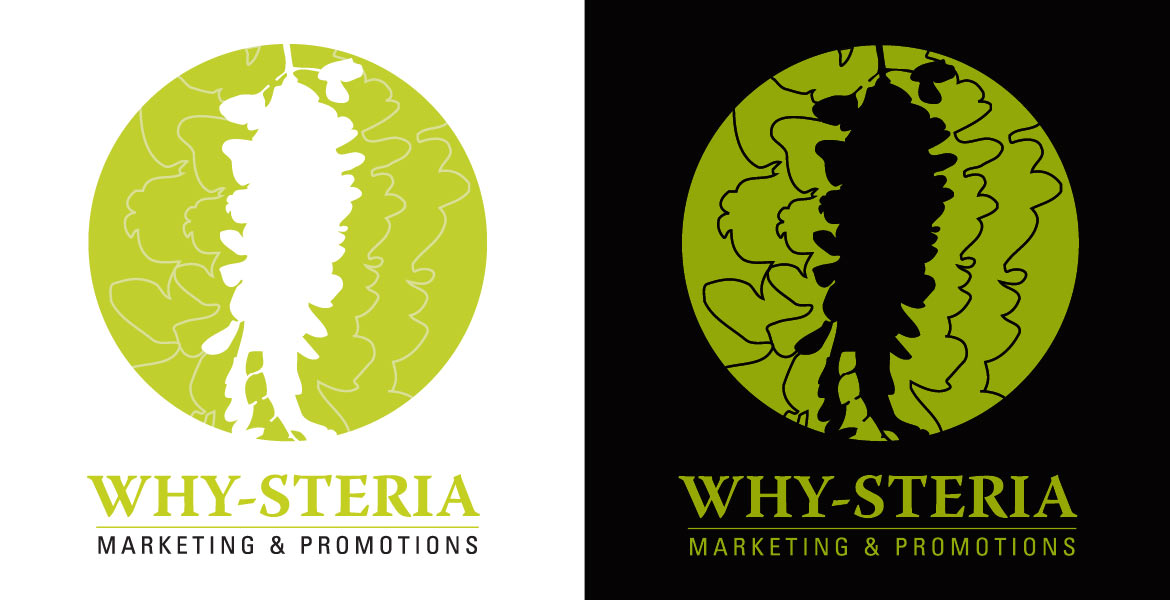 Why-Steria Marketing & Promotions : vertical logos light and dark versions