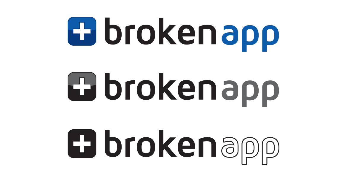 Broken App logo design variations