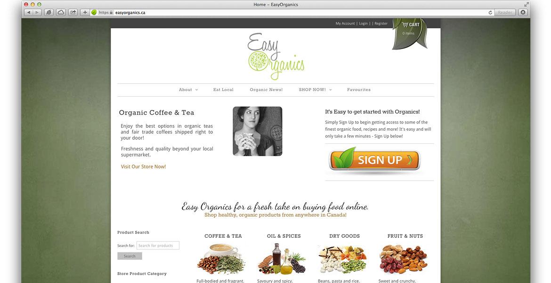 EasyOrganics.ca Responsive eCommerce Website: Homepage