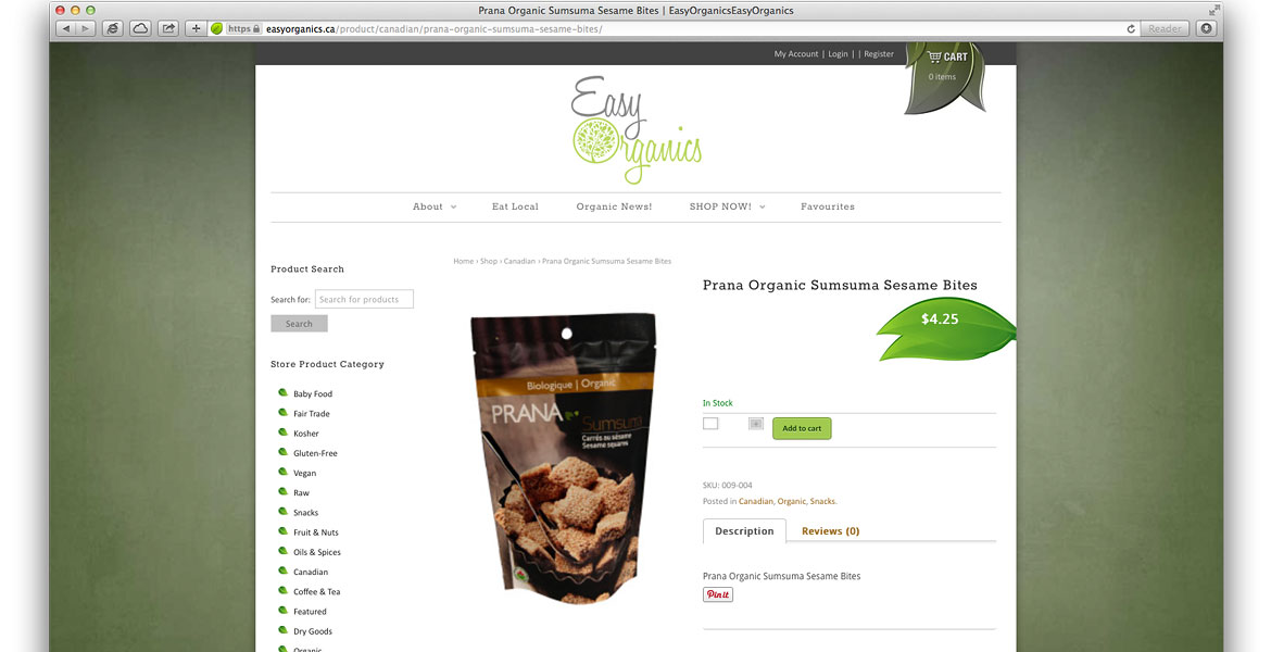 EasyOrganics.ca Responsive eCommerce Website: Jigashop Store product detail page