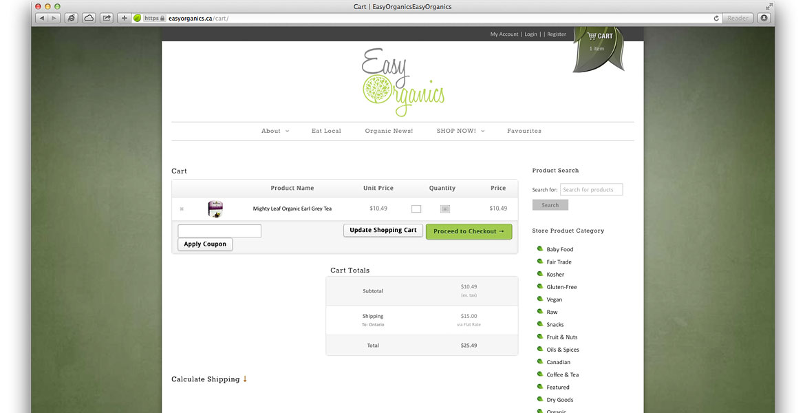 EasyOrganics.ca Responsive eCommerce Website: Jigashop Store shopping cart