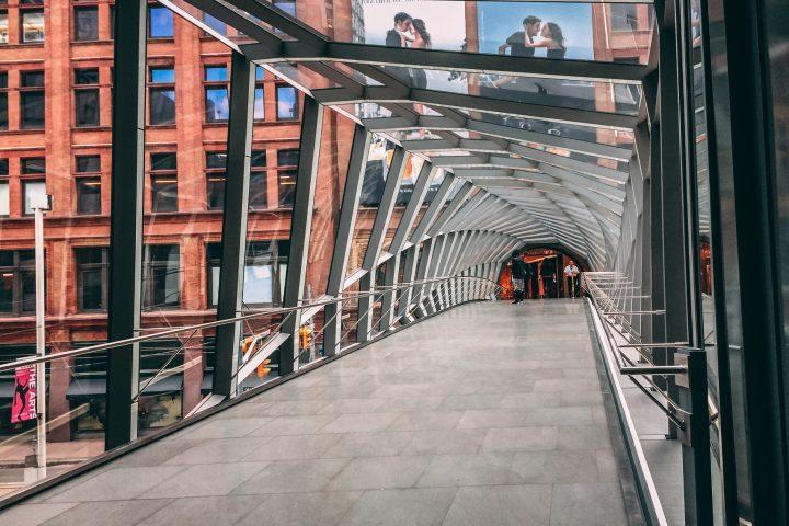 Pedestrian bridge rectilinear walkway when entering from Toronto Eaton Centre
