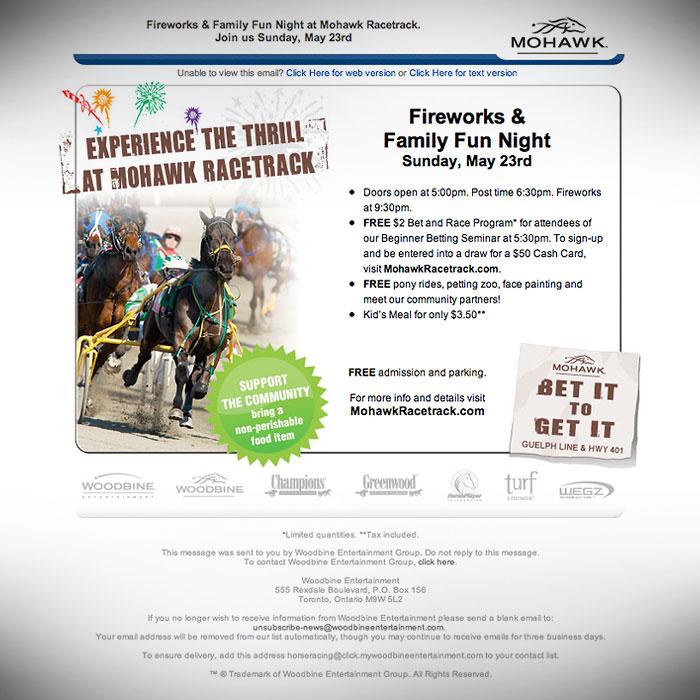 e-Newsletter // HTML Email : Mohawk racetrack promotion