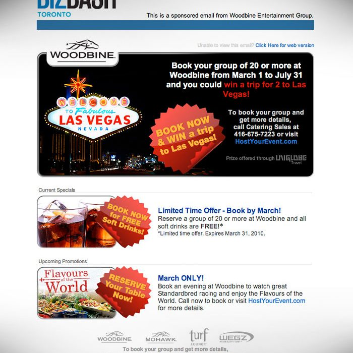 e-Newsletter // HTML Email : BizBash.com hosted promotion for Woodbine racetrack