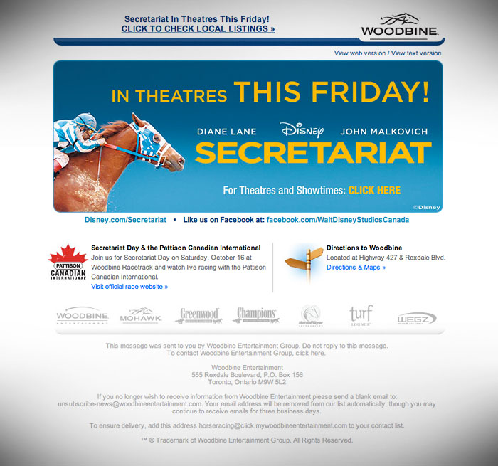 e-Newsletter // HTML Email : Promotion for motion picture Secretariat