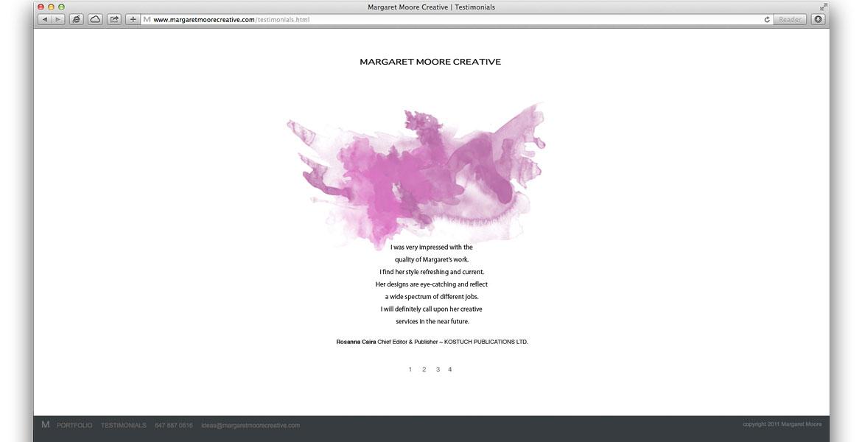 MargaretMooreCreative.com Website: Testimonial page