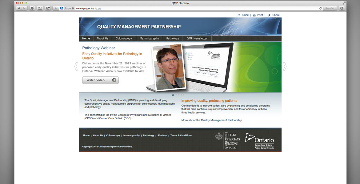 QMP Ontario Website: Homepage