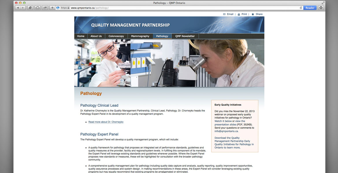 QMP Ontario Website: Pathology page