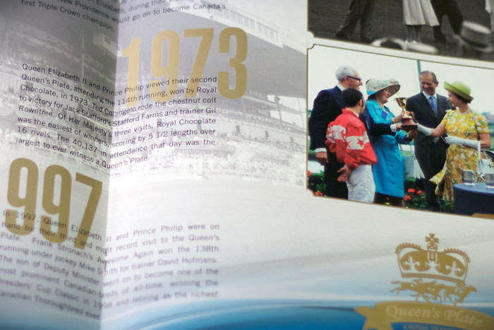 Queen's Plate 151st Program : Center spread layout (close-up)