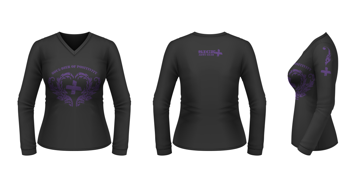 SOUL-dier of Positivity // Logo design for SICK Army Gear Merchandise - purple on black