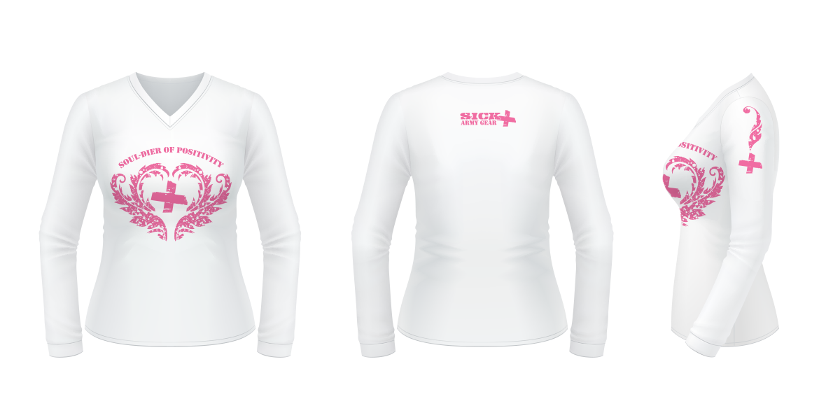 SOUL-dier of Positivity // Logo design for SICK Army Gear Merchandise - pink on white