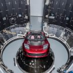 Tesla Roadster pictured in the Falcon Heavy rocket payload bay during launch preparations