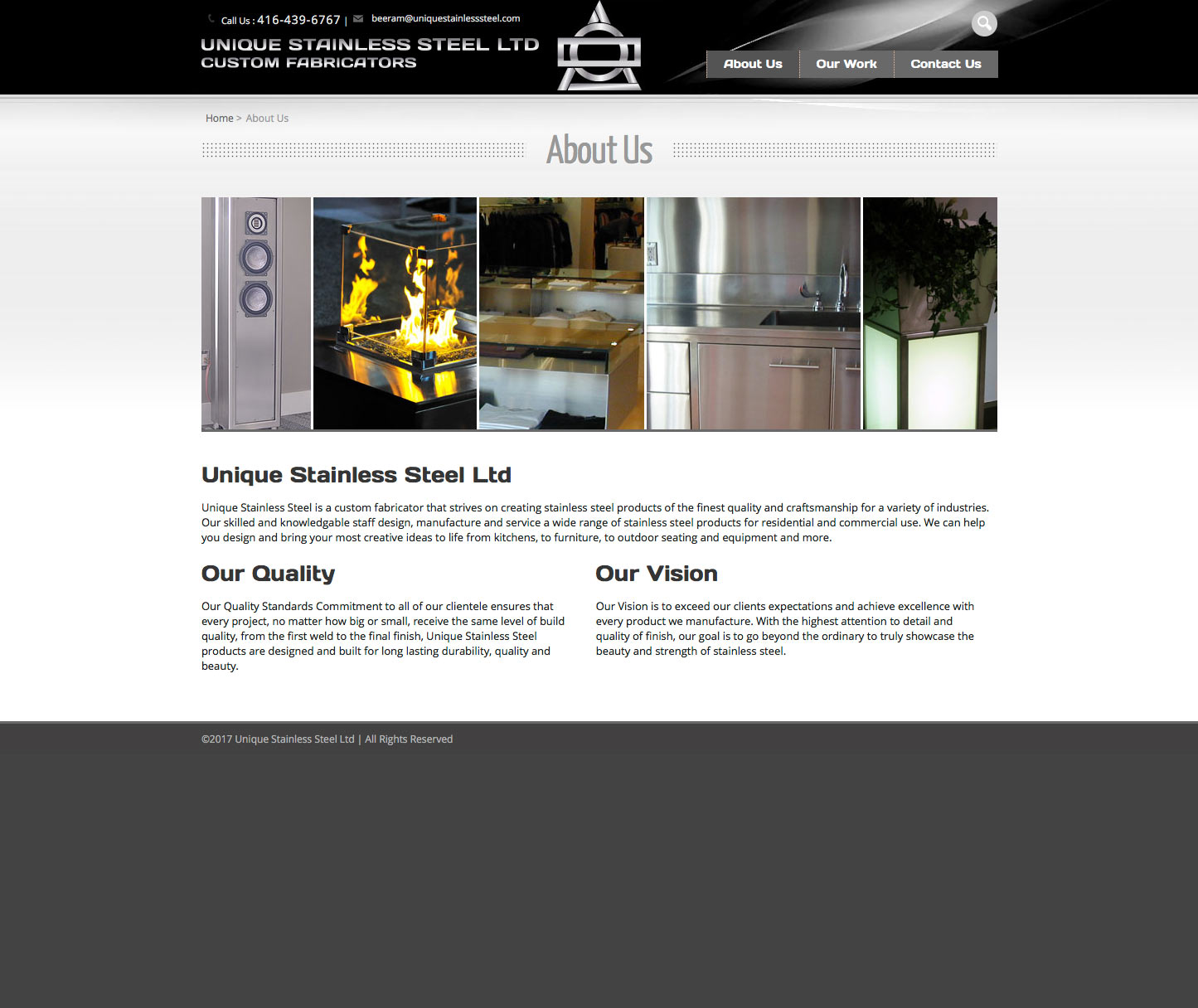 UniqueStainlessSteel.com About page