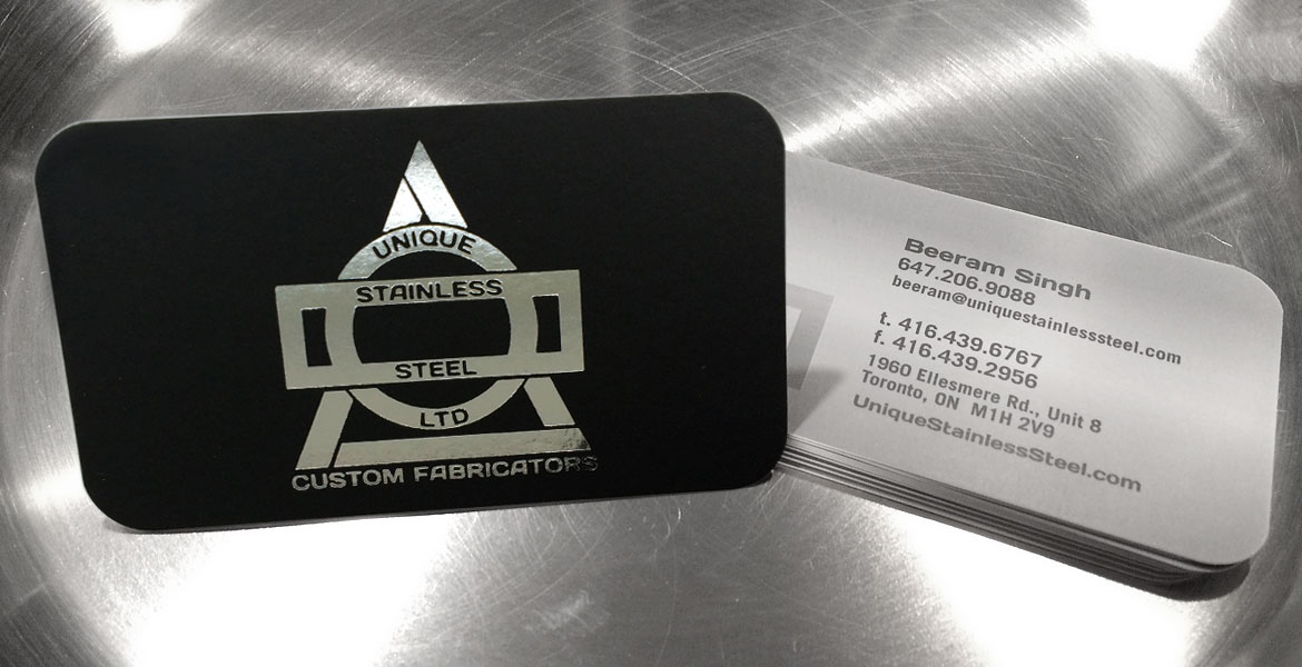 Unique Stainless Steel Logo & Branding: Business Card