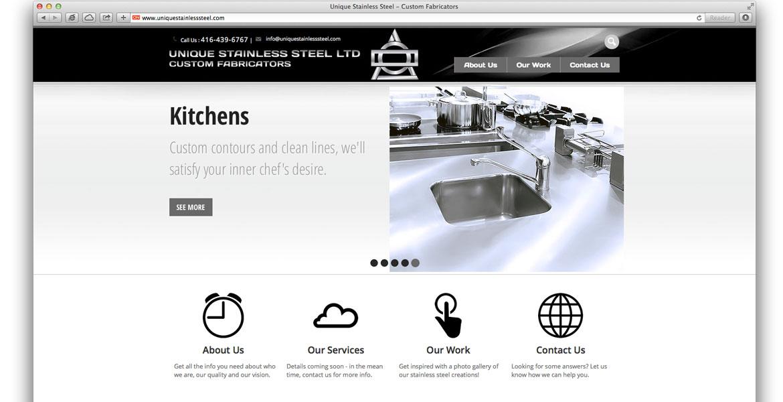 UniqueStainlessSteel.com Responsive Website: homepage