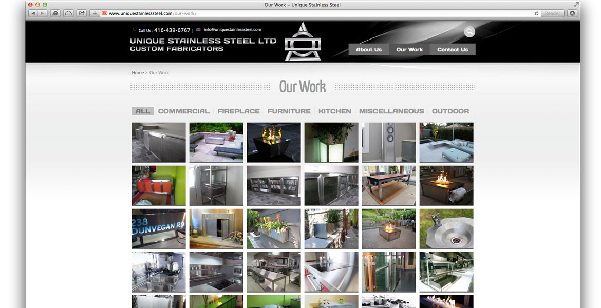 UniqueStainlessSteel.com Responsive Website: Our Work page