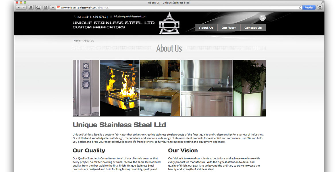 UniqueStainlessSteel.com Responsive Website: About Us page