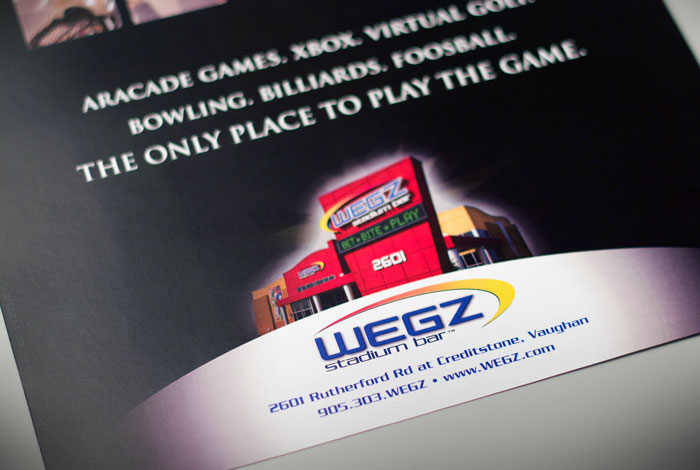 WEGZ Stadium Bar : Branding in print advertisment