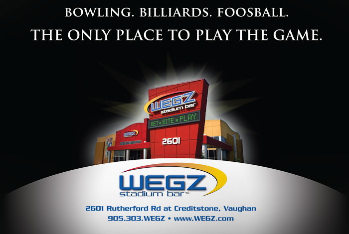 WEGZ Stadium Bar : Branding elements including building photo with tagline, logo and font styles