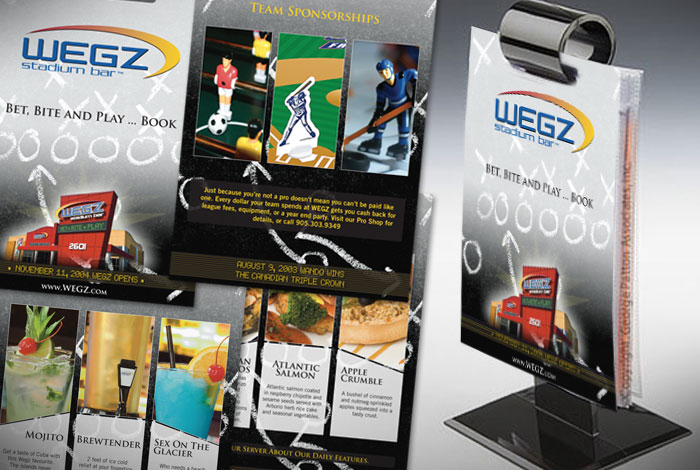 WEGZ Stadium Bar : Branded 'table talker' laminated menu cards