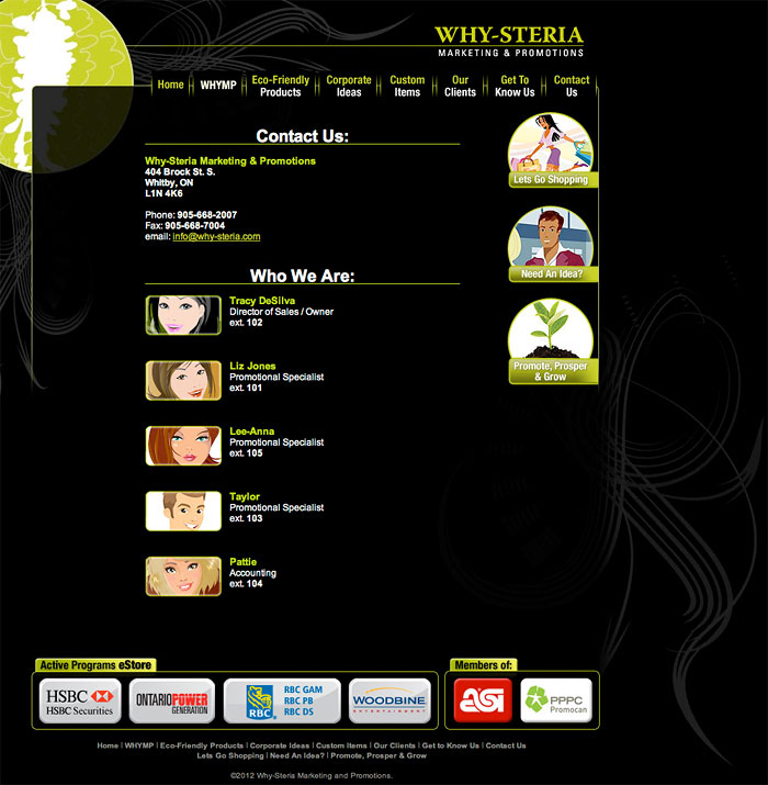 Why-Steria : Contact page with graphic iconagraphy