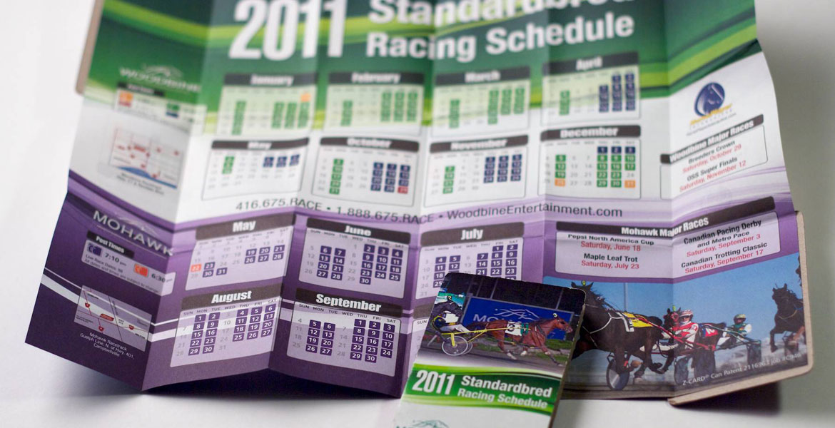 Z-Card Woodbine & Mohawk Racing Calendar: Standardbred detail